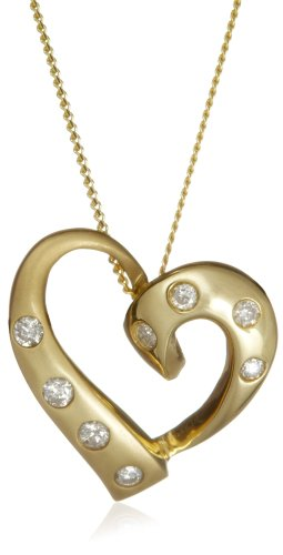 9ct Yellow Gold AMP332202 Ladies' 0.16ct Diamond Pendant  &  46cm Chain