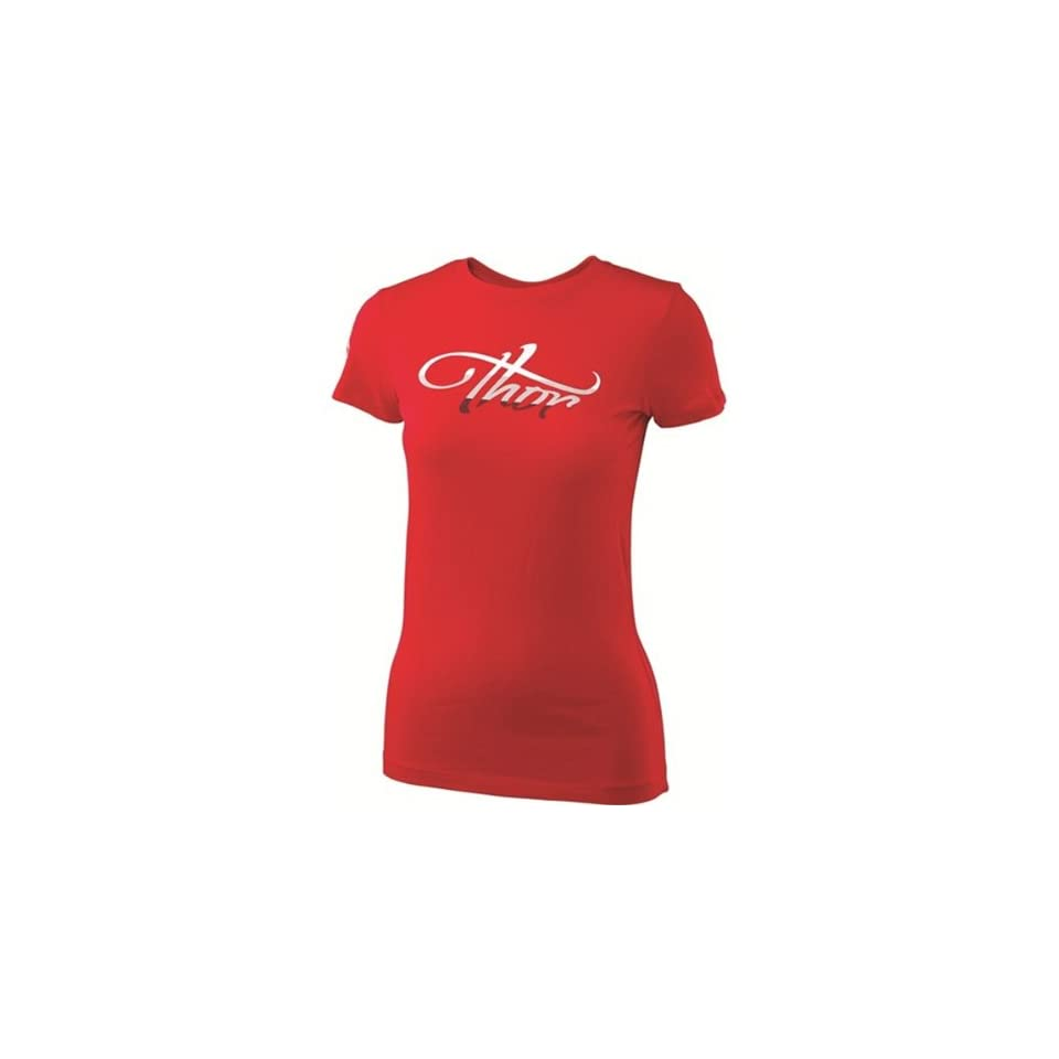Thor MX Luna Womens Short Sleeve Fashion Shirt   Red / Small