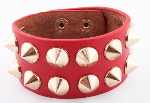 Red with Gold Spiked Genuine Leather Adjustable Snap Bracelet