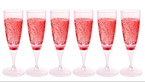 RioRand LED Waterproof Light-Up Champagne Flute Cups - LED Cup (6 pcs-red)