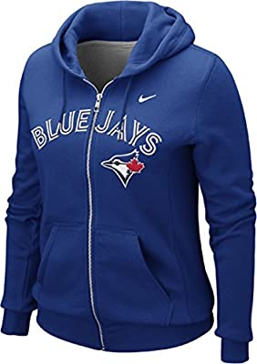 Nike Womens Toronto Blue Jays Wordmark Logo MLB Classic Full Zip Hoodie Sweater