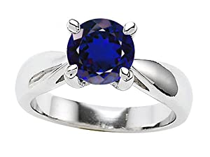 Original Star K (tm) 7mm Round Created Sapphire Engagement Ring in .925 Sterling Silver Size 5