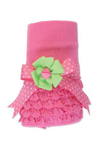 Mud Pie Baby Little Sprout Pink Ruffle Receiving Blanket