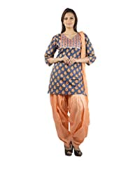 Rama Set Of Blue-Peach Coloror Printed Kurti With Peach Color Duppatta & Patiala