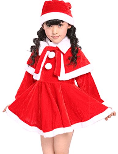 [Sunny Day Little Girls¡¯ Miss Santa Christmas Cosplay Costume Party Dress 4-5Y] (Miss America Costume 2016)