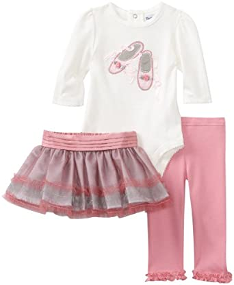 Hartstrings Baby-girls Newborn Interlock Bodysuit Legging And Tulle Skirt 3 Piece Set, Marshmallow, 0-3 Months