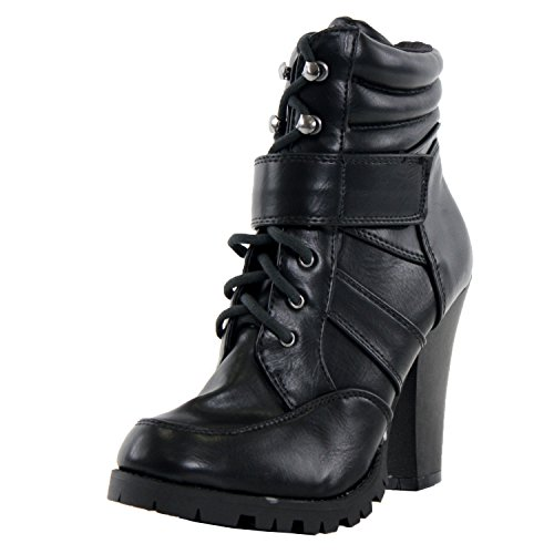 Soda Lance-H Bootie Boots, Black Pu, 8