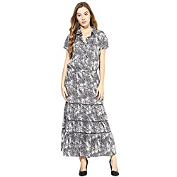 TAURUS WOMEN'S MY COLLARED TIERED DRESS (CDR-1554-GREY-Large)