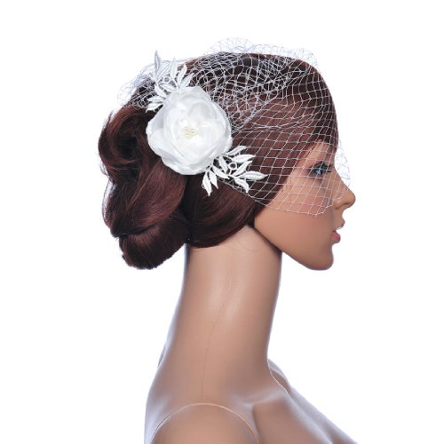 Remedios Pearl and Lace Wedding Flower Hair Clip Birdcage Veil Bridal Accessory