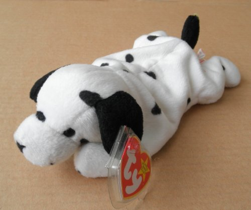 TY Beanie Babies Dotty the Dalmatian Dog Stuffed Animal Plush Toy - 8 inches long - White with Black Spots and Ears
