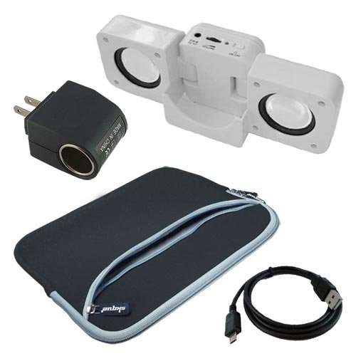 Premium Black Dual Pocket Carrying Bag + Speak Fold-up Docking Station WHITE + Micro USB DATA Straight Cable + AC HOME/ DC CAR Power Converter for Sony Tablet S 9.4