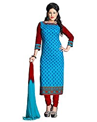 ZHot Fashion Women's Printed Un-stitched Dress Material In Cotton Fabric (ZH1006) Blue