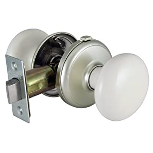 Gainsborough Interior Locking Bisque Porcelain Satin Nickel Door Knob Set Privacy Door