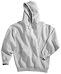Tri-mountain Cotton/poly sueded finish hooded sweatshirt. 689 - HEATHER GRAY_6XLT
