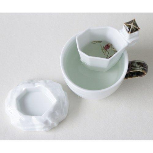White Porcelain Korean Pavilion Design Ceramic Pottery Personal Tea Leaf Brewing Infuser Filter Strainer Cup Mug Teacup Saucer Gift Set