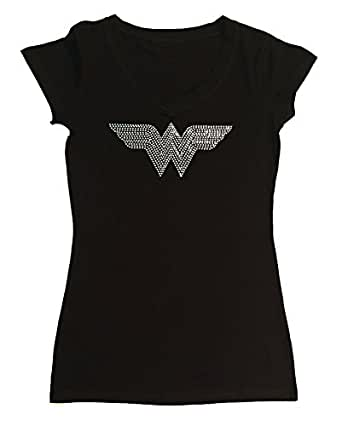 Womens Fashion T-shirt with All Crystal Wonder Woman in Rhinestones