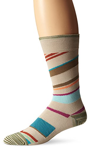 Robert Graham Men's Howler Crew Sock, Khaki, 10-13/Shoe Size