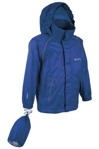 Mountain Warehouse Pakka Kinder wasserdichte zusammenfaltbare Regenjacke mit Kapuze und Tragebeutel Mädchen Jungen Unisex Marineblau 152 -