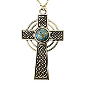 Large Celtic Cross with 12mm Persian Blue Copper Turquoise Gemstone on Rolo Chain