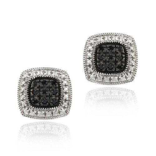 Sterling Silver 1/5 ct. TDW Black Diamond Square Earrings