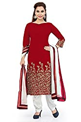 Red Banglori Silk Embroidered Unstitched Dress Material