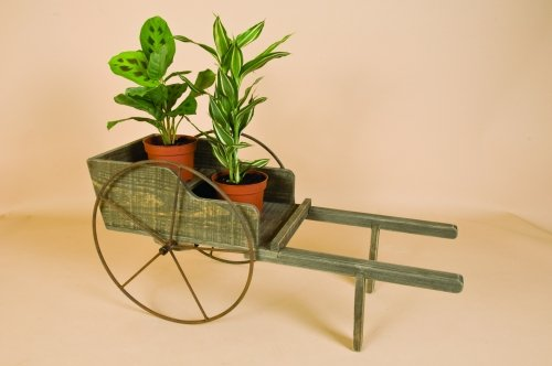 Large Wooden Decorative Wheelbarrow Flower Planter