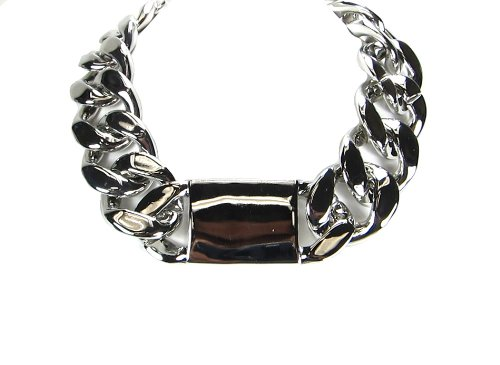 Fashion Statement Hot Celebrity X Large Thick Chunky Silver Link Chain Id Necklace