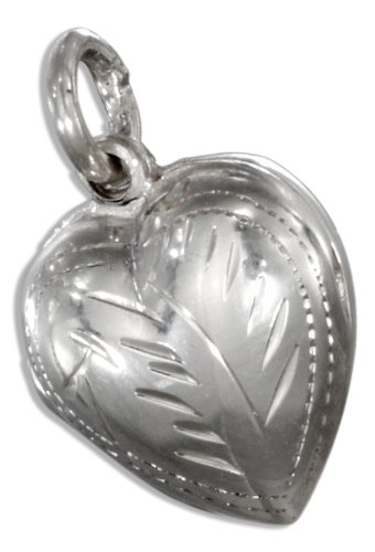 Sterling Silver Small Etched Puffed Heart Locket.