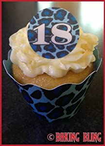 Edible Cake Decorations For 18th Birthday : 18th Birthday BLUE Leopard Print CUPCAKE KIT 12 Pack ...