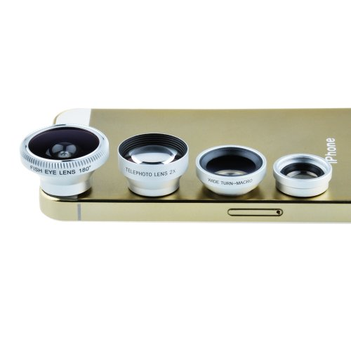 Victsing Magnetic Detachable Fish-Eye Lens Wide Angle Micro Lens Telephoto Lens 4-In-1 Kits Sliver For Iphone 5 5C 5S 4S 4 3Gs Ipad Air Ipad Mini Ipad 5 4 3 2 Samsung Galaxy S4 S3 S2 Note 3 2 1 Sony Xperia Z L36H L36I L39H Ultra Xl39H Htc One Smartphones