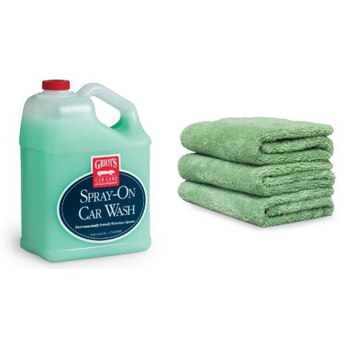 Griot's Garage 11066 1-Gallon Spray-On Car Wash with 3-Pack Micro Fiber Spray-On Car Wash Cloths (Griots Waterless Car Wash compare prices)