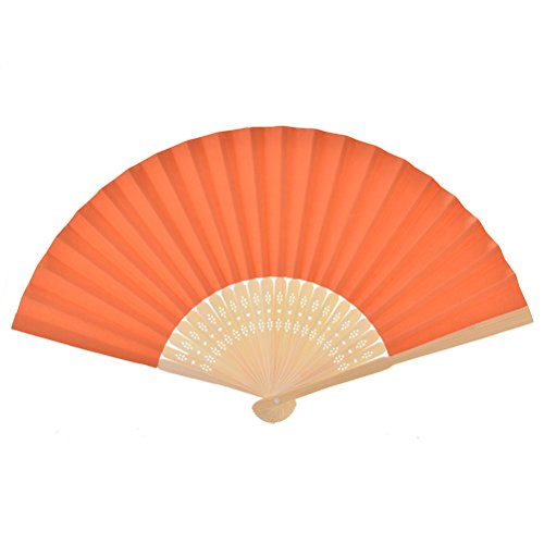 1pcs Chinese Paper Folding Fan Handheld Fan Wedding Party Favor Orange