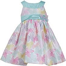 Little-Girls 2T-6X Mint-Green Multicolor Butterfly Print Shantung Dress