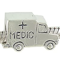 Authentic Biagi Sterling Silver Ambulance EMT European Bead Charm from Biagi