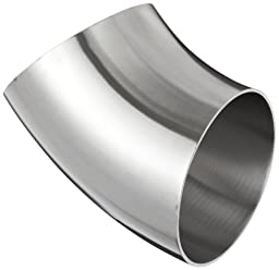 Dixon B2WK-G400P Stainless Steel 304 Sanitary Fitting, 45 Degree Polished Weld Short Elbow, 4\