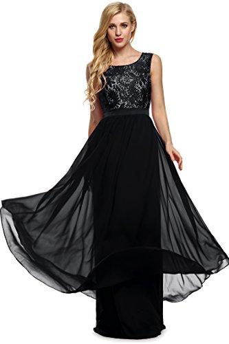 Angvns Women's Classic Evening Dress (M, Black)
