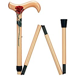 Ladies 4-Section Folding Adjustable Derby Cane Golden  Carbon Fiber Shaft Solid Wood Handle -Affordable Gift! Item #DHAR-9075677