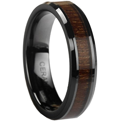 Black Ceramic Ring With Koa Wood Inlay By Ceramic Gestalt® - 6Mm. Comfort Fit. Rbl6Koa75