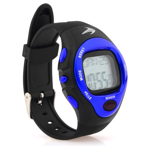 Heart Rate Monitor Watch – Best for Men & Women – Running, Jogging, Walking, Gym Exercise, Iron Man, Cycling, Sports – Digital Timer Stop Watch, Alarm Multi Function – Reduce Stress for Healthy Lifestyle – Watch Case Included – CompressionZ (Blue)