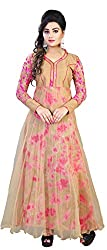 SURAT ARTS Orange Cotton Anarkali Semi Stitched Dress Material