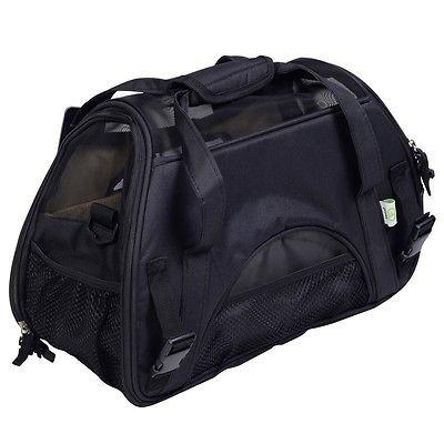 Super buy Small Pet Carrier OxFord Soft Sided Cat/Dog Comfort Travel Tote Shoulder Bag (black)