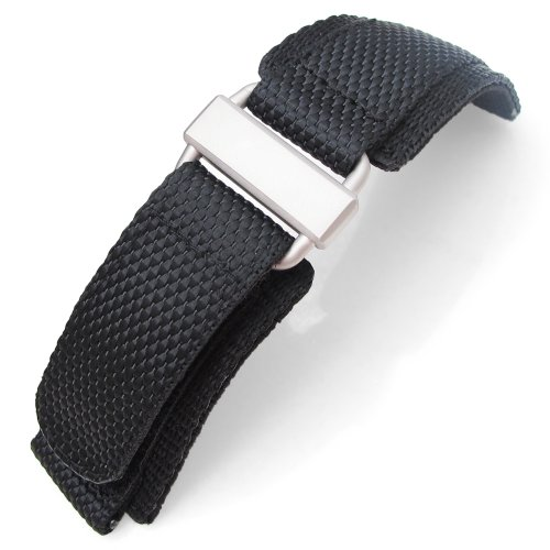 MiLTAT 24mm Honeycomb Black Nylon Velcro Fastener Watch Strap Sandblasted Buckle