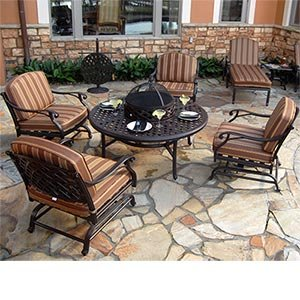 Fabulous Baywood pc All Inclusive Collection Includes Motion Club Chairs Chat Table wFirepit Ice Bucket Option Loungers and Side Table