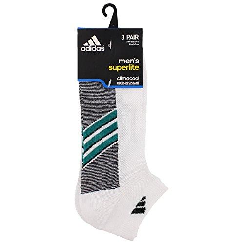 Adidas Mens Superlite 3-Pack Low Cut Sock, White/Eqt Green/Black, Large