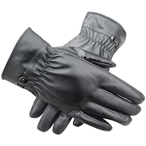 WMA Men Winter Thermal Lined Driving Smart Warm Soft Leather Gloves Button Fasten