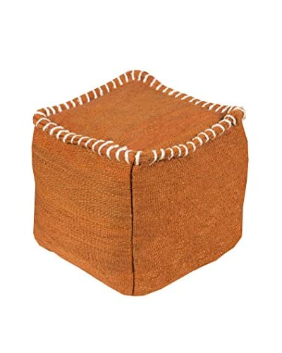 Surya Woodstock Pouf, Orange