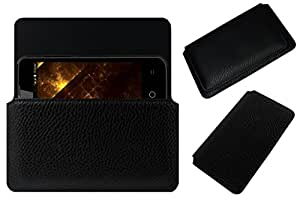 Acm Horizontal Case For Lyf Flame 5 Mobile Leather Cover Magnetic Closure Black
