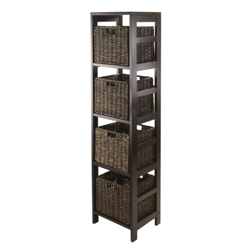 Winsome Granville 5-Piece Storage Tower Shelf with 4 Foldable Baskets, Espresso (Storage Tower Baskets compare prices)