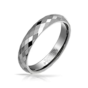 Bling Jewelry 4mm Band Multi Faceted Tungsten Carbide Ring - Size 10