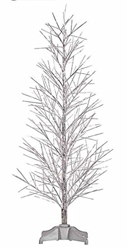 Vickerman Pre-Lit Battery Operated Silver Fiber Optic Christmas Twig Tree with Multicolored, 4'